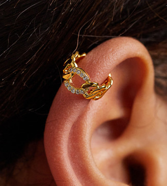 Orelia chunky chain ear cuff in gold plate with crystals