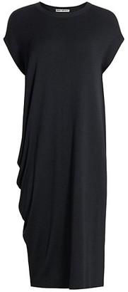 Issey Miyake Knit Cap-Sleeve Side Drape Dress