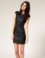PU Scuba Panelled Dress