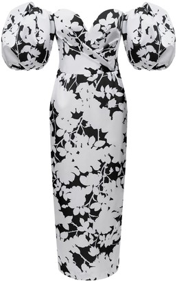 Black And White Floral Print Midi Dress