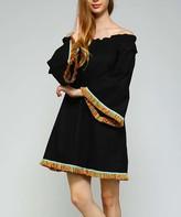 Simply Boho La Simply Boho LA Women's Casual Dresses BLACK - Black & Yellow Fringe-Accent Off-Shoulder Dress - Women