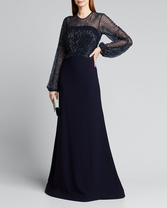 Rene Ruiz Collection Beaded Yoke Long-Sleeve Illusion Gown