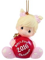 "Precious Moments Precious Moments, Christmas Gifts, ""Baby's First Christmas 2016"", Baby Girl, Bisque Porcelain Ornament, #161005"