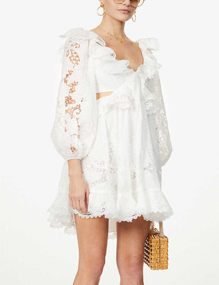 Zimmermann Lulu floral-embroidered cotton mini dress