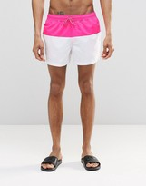 Asos Swim Shorts In White With Neon Pink Panel In Short Length