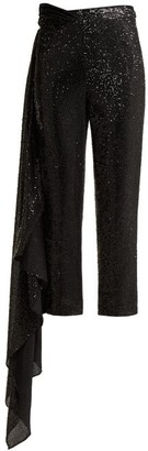 Halpern Cropped Sequinned Trousers - Black White