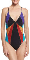 Nanette Lepore Serengeti Goddess Sueded One-Piece Swimsuit, Multicolor