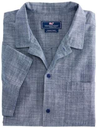 Vineyard Vines Short-Sleeve Moonshell Chambray Cabana Collar Shirt