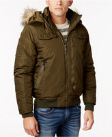 Ben Sherman Men's Hooded Bomber Jacket with Faux-Fur Trim