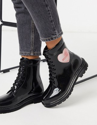 Love Moschino rubber lace up boots in black