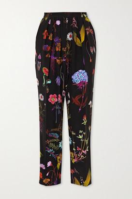 Stella McCartney Christine Floral-print Silk-crepe Straight-leg Pants - Black