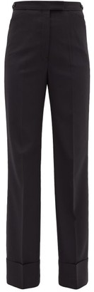 Lemaire Turned-up Twill Straight-leg Trousers - Womens - Navy