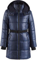 Calvin Klein Vail Hooded Belted Puffer Jacket, Big Girls
