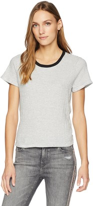 LAmade Women's Short Sleeve Textured Stripe Twist Back tee