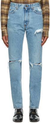 Gucci Blue Ripped Eco Washed Jeans