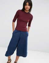 Asos Sweater in Sheer Rib with Double Neck Detail
