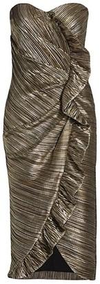 Jonathan Simkhai Dylan Metallic Plisse Strapless Midi Dress