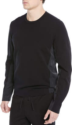 Vince Mixed-Media Cotton Crewneck Sweater