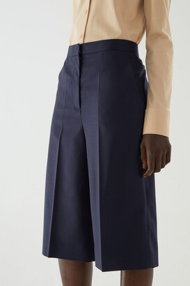 Cos Wool Mix Pleated Knee-Length Shorts