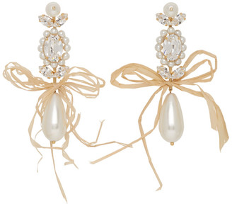 Simone Rocha Gold Raffia Bow Drop Earrings