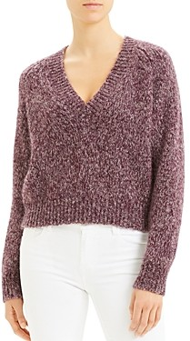 Theory Alpaca-Blend Marled V-Neck Sweater