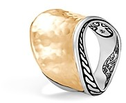 John Hardy 18K Yellow Gold Classic Hammered Chain Wave Ring with Sterling Silver