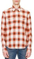 Maison Margiela Check Long-Sleeve Western Shirt, Orange