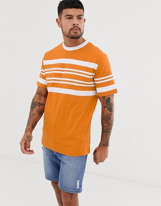 NATIVE YOUTH t-shirt in chest stripe in orange