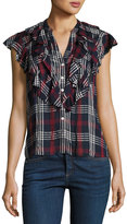 Veronica Beard Finley Button-Front Ruffled Cap-Sleeve Plaid Shirt