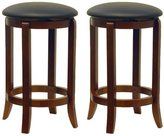 Winsome Wood 24-Inch Set of Two Black PVC Seat Bar Stools, Walnut