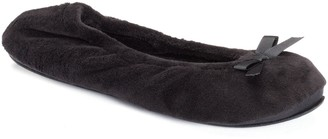 Dearfoams Women's Velour Ballet Bow Slippers