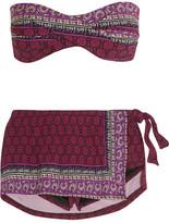 Anna Sui Printed Twist-front Bandeau Bikini - Claret
