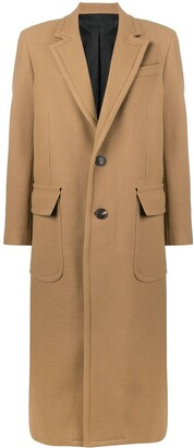 AMI Paris Patched Pockets Two Buttons Long Lined Coat