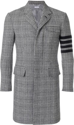 Thom Browne 4-Bar Prince of Wales Check Wool High-Armhole Chesterfield Overcoat