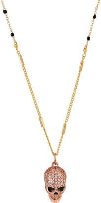 Nakamol Rhinestone Skull Pendant Necklace, Rose Gold