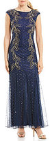 Pisarro Nights Beaded Flame Motif Cap-Sleeve Gown