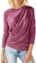 Kalin L Women Appreal Long Sleeve Draped Plain T-shirts Blouse Tops (, M)