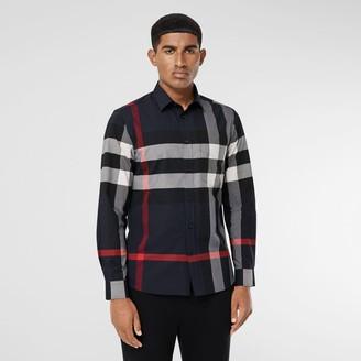 Burberry Check Stretch Cotton Popin Shirt