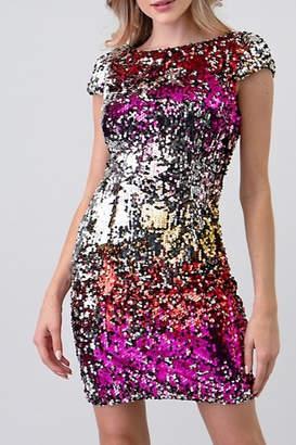 Minuet Cap Sleeve Sequin Dress