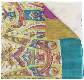 Etro Linen-Silk Blend Paisley Print Scarf