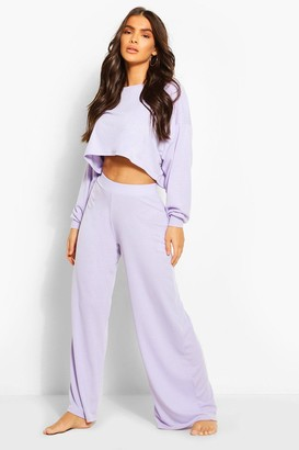boohoo Ribbed Wide Leg Lounge trousers