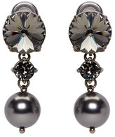 Miu Miu Gunmetal Pearl & Crystal Earrings