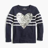 J.Crew Pre-order Girls' striped sequin heart T-shirt