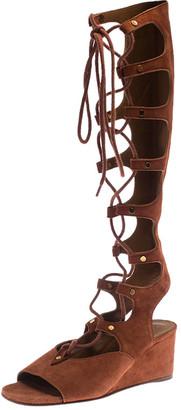 Chloé Dark Orange Suede Tall Gladiator Wedge Sandals Size 36