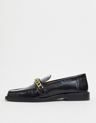 ASOS DESIGN Marsh leather chain loafers in black