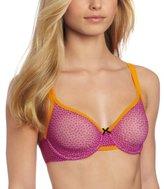 Betsey Johnson Women's Stretch Mesh Underwire Demi Bra, Flurries Very Violet, 32C
