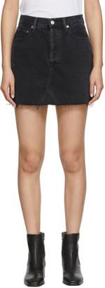 A Gold E Agolde AGOLDE Black Denim Quinn High Rise Miniskirt
