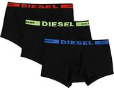 Diesel Kory Plain Stretch Cotton Trunks, Pack Of 3, Black