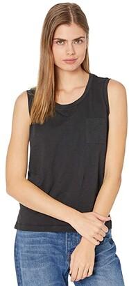 Madewell Whisper Crew Neck Muscle Pocket Tank (True Black) Women's Clothing