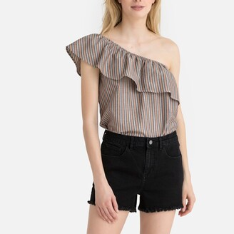 La Redoute Collections Striped Cotton Asymmetric Off-the-Shoulder Blouse